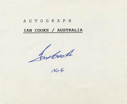 1976 Montreal Field Hockey Silver IAN COOKE Autograph