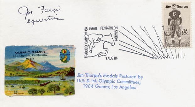 1984 Los Angeles Equestrian Gold JOE FARGIS Hand Signed Cover 1984