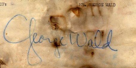 1967 Nobel Medicine GEORGE WALD  Autograph 1972