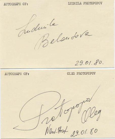 1964-1968 Figure Skating Champions BELOUSOVA / PROTOPOPOV Autographs 1980