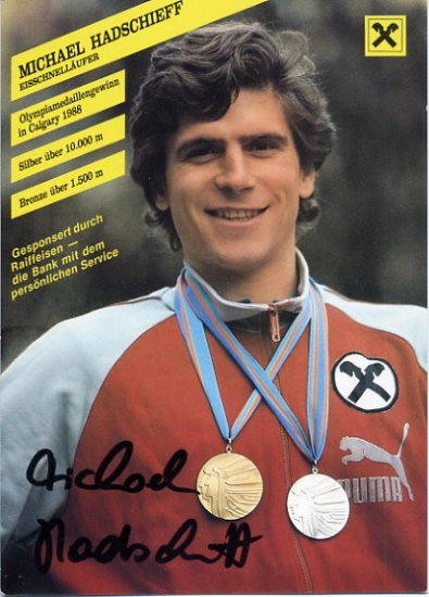 1988 Calgary Speed Skating Medalist MICHAEL HADSCHIEFF Hand Signed Photo