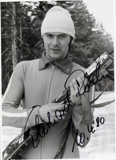 1980 Lake Placid Biathlon Medalist EBERHARD ROSCH Hand Signed Photo 1980