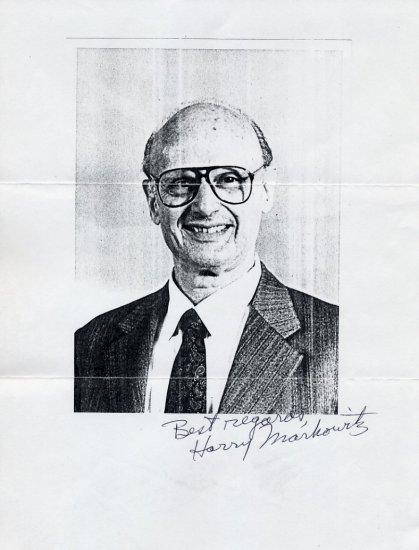 1990 Nobel Economics HARRY MARKOWITZ  Autograph 1994