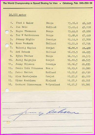 1964 Innsbruck  Speed Skating Gold JONNY NILSSON  Autograph 1968