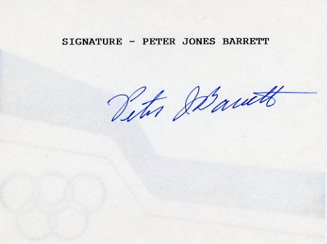 1968 Mexico City Yachting Gold PETER BARRETT Hand Signed Card