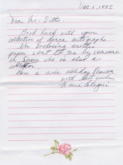 Ballerina MARIA CALEGARI Autograph Letter Signed 1995