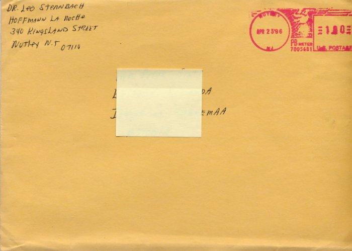 Valium Inventor LEO STERNBACH Autographed Envelope 1996