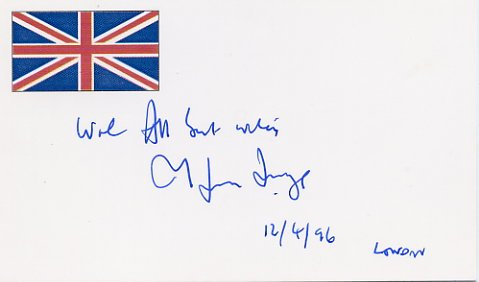 British Author & Broadcaster MELVYN BRAGG Hand Signed Card 1996