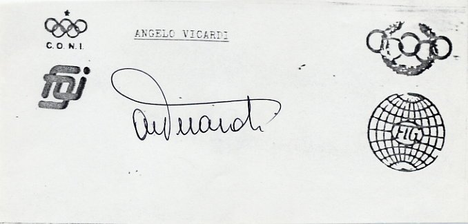 1960 Rome Gymnastics Bronze ANGELO VICARDI Autograph