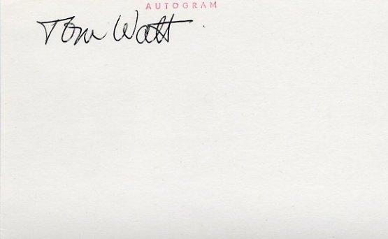 Canadian Ice Hockey Coach TOM WATT  Autographed Card 1980s