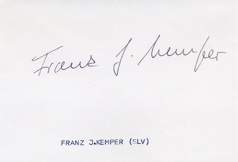 1968 Mexico City & 1972 Munich 800m Olympian & WR FRANZ-JOSEF KEMPER Autograph