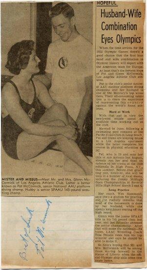 1952-56 Diving Legend PAT Mc CORMICK Autograph from 1949!!!