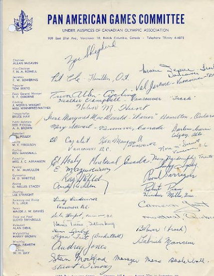 Canada - 1959 Pan American Games Autographs (32)
