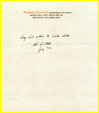 1980 Nobel Physics VAL FITCH  Autograph Note Signed 1994