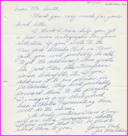 Manhattan College Track Star JOSEPH MARCHIONY Autograph Letter Signed 1958