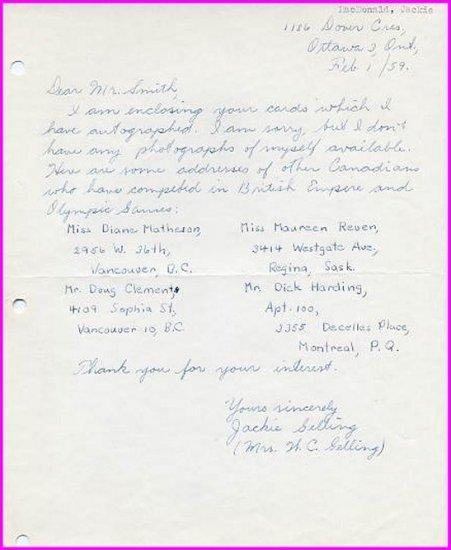 1956 Melbourne Shot Put Olympian JACKIE Mac DONALD Autograph Letter Signed 1959