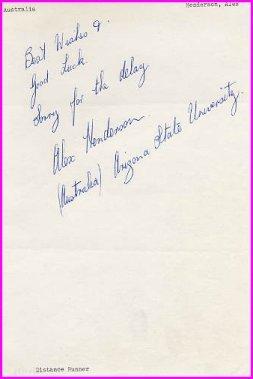 Australian Distance Runner ALEX HENDERSON Autograph Note Signed 1959