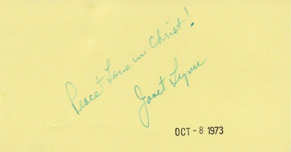1972 Sapporo Figure Skating Bronze JANET LYNN Autographed Card 1973