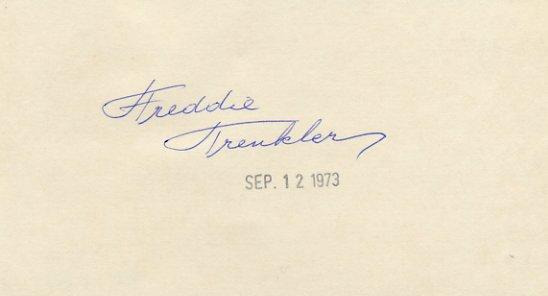 Comic Ice Skater FREDDIE TRENKLER Hand Signed Card  '73