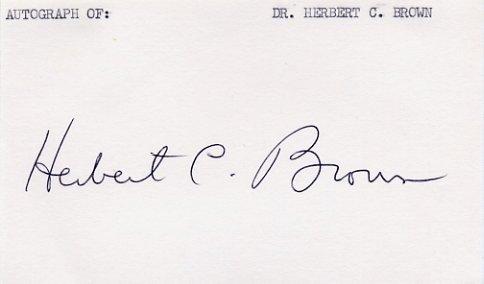 1979 Nobel Chemistry HERBERT BROWN Signed Card from  1980