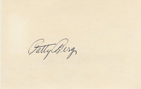 Golf Great PATTY BERG  Autographed Card 1978