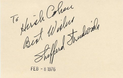 American Actor SHEPPERD STRUDWICK Autographed Card 1976