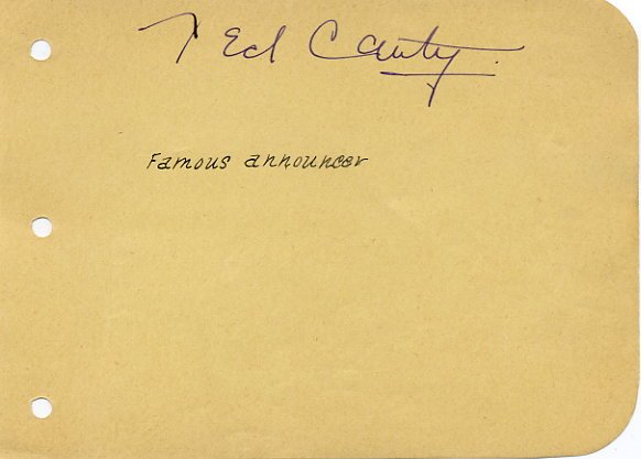 Famous Chicago Sports Announcer TED CANTY Autograph 1930s