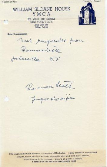 1960 Rome & 1964 Tokyo Pole Vault  Olympian ROMAN LESEK  Autograph Note Signed 1962