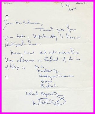 1960 Rome & 1964 Tokyo 5000m Olympian MIKE WIGGS  Autograph Letter Signed 1963