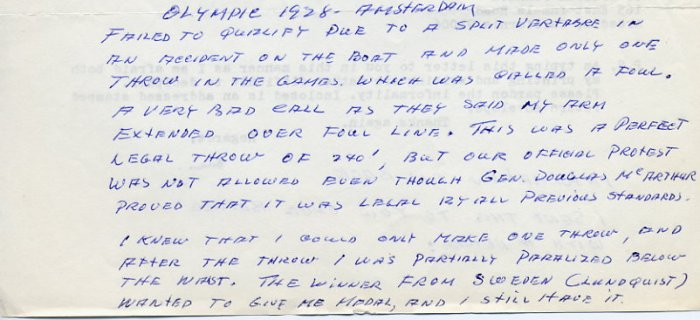 1928 Amsterdam Javelin Olympian CRETH HINES Autograph Letter 1969 GREAT CONTENT!