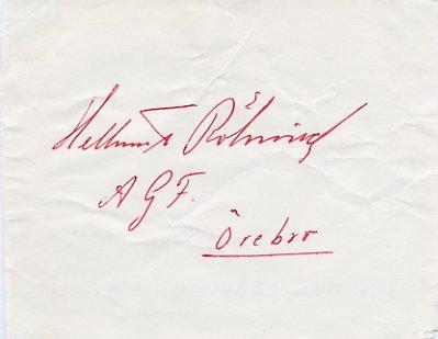Rohnisch Sportswear Founder & 1945 Gymnastics Champion HELLMUT R�HNISCH Autograph from 1950s