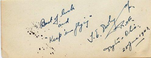 WWII RAF THOMAS EDWARD DROWLEY Autograph Note Signed 1943