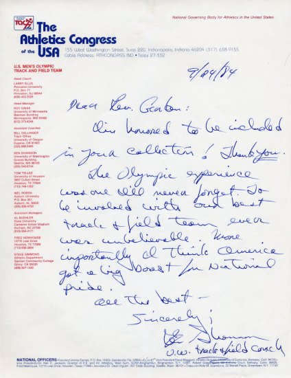 Legendary University of Washington Head Track Coach KEN SHANNON  Autograph Letter Signed 1984