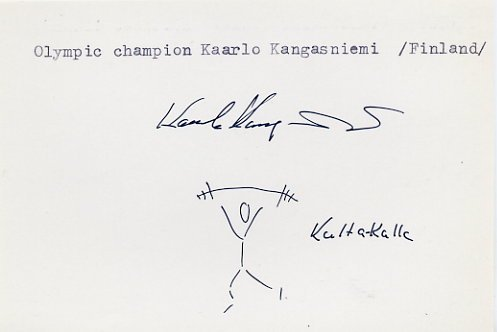 1968 Mexico City Weightlifting Gold KAARLO KANGASNIEMI Autograph & Sketch