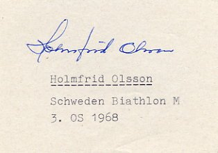 1968 Grenoble Biathlon Bronze HOLMFRID OLSSON Autograph