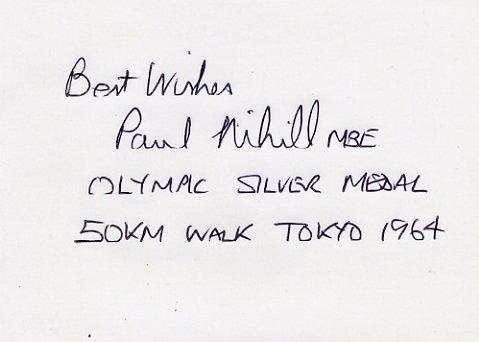 1964 Tokyo 50km Walk Silver PAUL NIHILL  Autograph