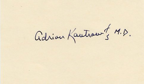 Heart Transplant Pioneer Dr. ADRIAN KANTROWITZ  Autographed Card 1970s