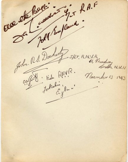 WWII Royal Air Force & Royal Navy Autographs from 1943