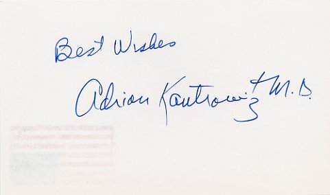 Heart Transplant Pioneer Dr. ADRIAN KANTROWITZ  Hand Signed Card 1996