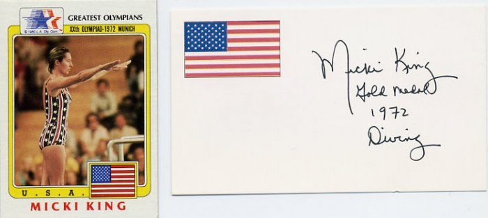 1972 Munich Diving Gold MICKI KING Hand Signed Card & Greatest Olympians Card 1983