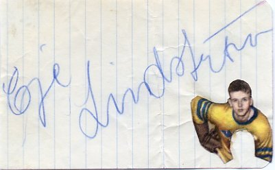 Sweden - 1957 Ice Hockey World Champion EJE LINDSTROM Autograph 1950s