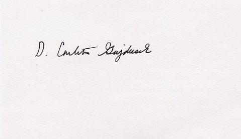American Virologist 1976 Nobel Laureate DANIEL CARLETON GAJDUSEK Hand Signed Card
