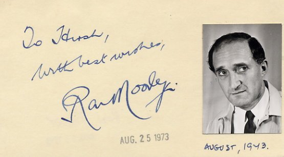 British Actor RON MOODY Autograph Note Signed 1973