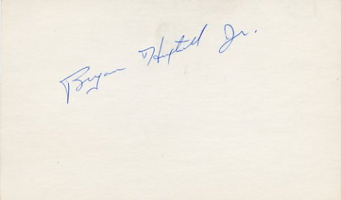 NHL Penguins BRYAN HEXTALL, Jr Hand Signed Card from 1970s