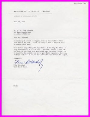 Michigan State Head Track Coach FRANCIS DITTRICH Typed Letter Signed 1965