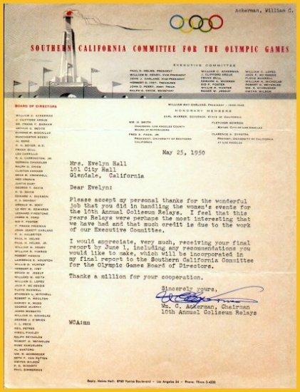 UCLA Athletic Director BILL ACKERMAN TLS 1950 to Evelyne Hall - 1932 Olympic Hurdles Silver