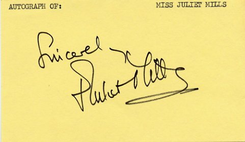 English Actress JULIET MILLS Autographed Card 1980s