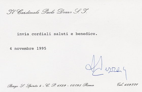 Cardinal PAOLO DEZZA Hand Signed Card 1995