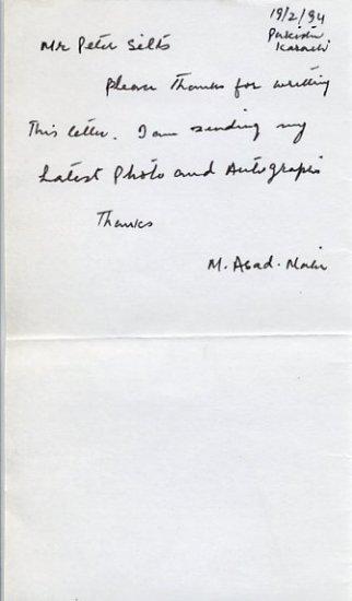 1968 Mexico City Field Hockey Gold MOHAMMAD ASAD MALIK Autograph Note Signed 1994