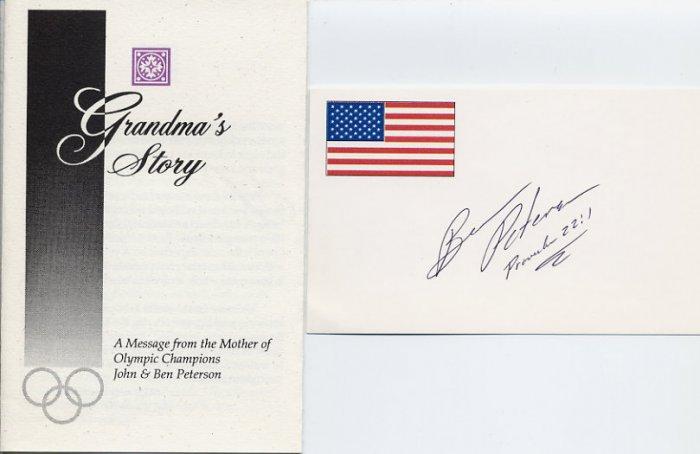 1972 Munich Wrestling Gold BEN PETERSON Hand Signed Card & Leaflet